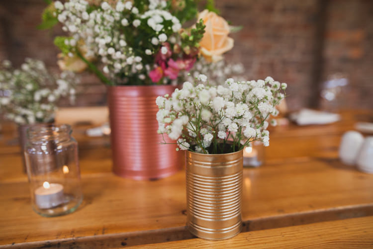 Metallic Gold Tin Can Flowers Indie Rustic DIY Fun Wedding Party http://www.sallytphotography.com/