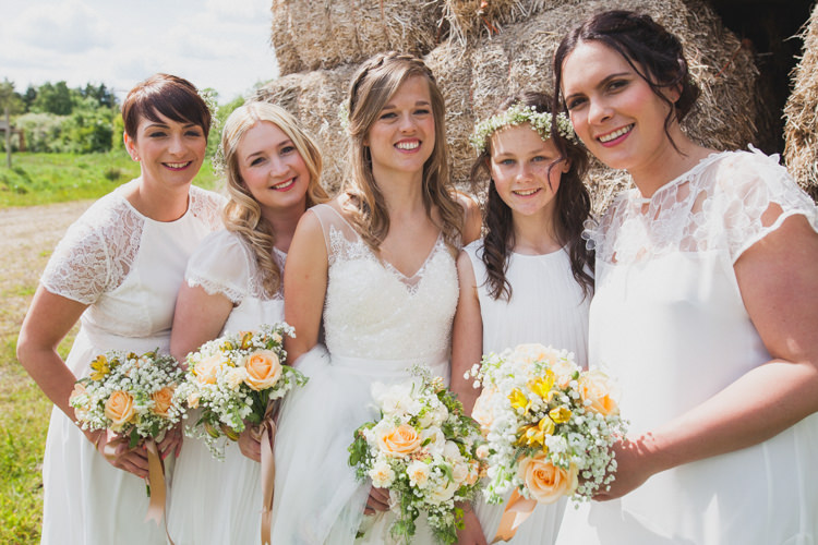 Mismatched White Bridesmaid Dresses Bouquets Flowers Indie Rustic DIY Fun Wedding Party http://www.sallytphotography.com/