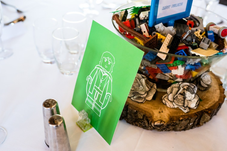 Lego Table Centrepieces Geeky Outdoorsy Woodland Wedding http://www.daffodilwaves.co.uk/