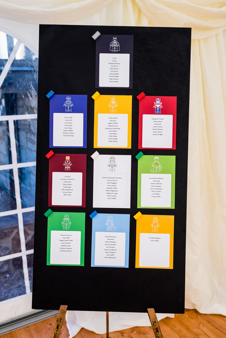 Lego Superhero Seating Table Plan Chart Geeky Outdoorsy Woodland Wedding http://www.daffodilwaves.co.uk/