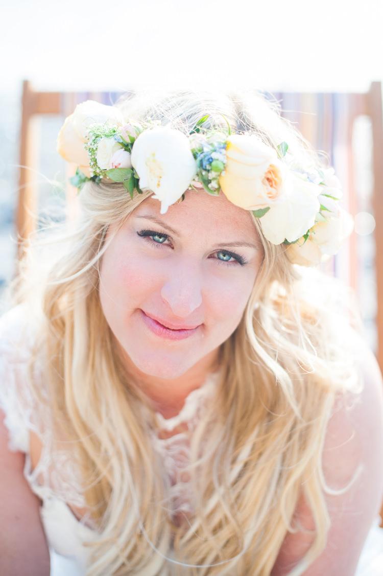 Natural Make Up Bride Flower Crown Peach Stylish Beach Mermaid Wonderland Wedding http://www.sourceimages.co.uk/