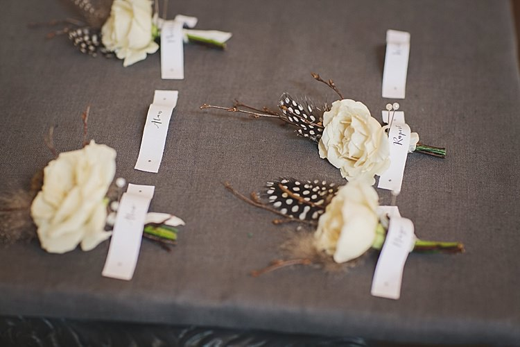 Feather Flower Buttonholes Classic Country House Black Gold Blush Wedding http://www.camillarosa.co.uk/