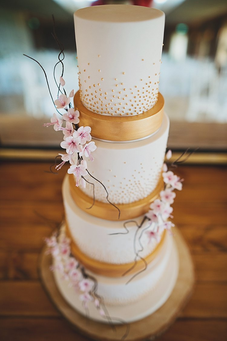Metallic Cake Cherry Blossom Classic Country House Black Gold Blush Wedding http://www.camillarosa.co.uk/
