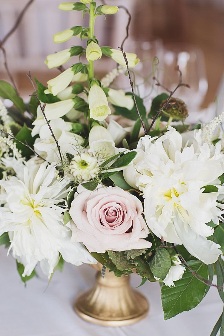 White Pink Rose Flower Arrangement Centrepiece Tables Classic Country House Black Gold Blush Wedding http://www.camillarosa.co.uk/