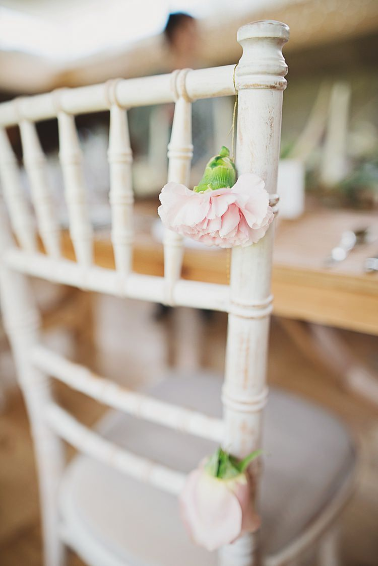 Chair Flowers Pink Classic Country House Black Gold Blush Wedding http://www.camillarosa.co.uk/