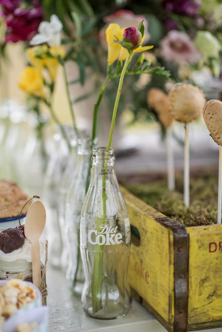 Coke Bottle Flowers Whimsical Soft Floral Meadow Wedding Ideas http://www.jbcreatives.co.uk/