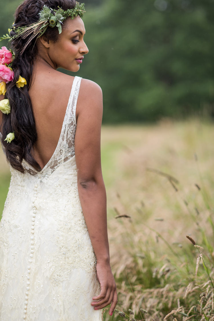 Low V Dress Back Gown Bride Bridal Whimsical Soft Floral Meadow Wedding Ideas http://www.jbcreatives.co.uk/