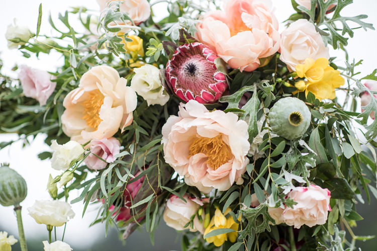 Protea Peony Flowers Blush Yellow Whimsical Soft Floral Meadow Wedding Ideas http://www.jbcreatives.co.uk/