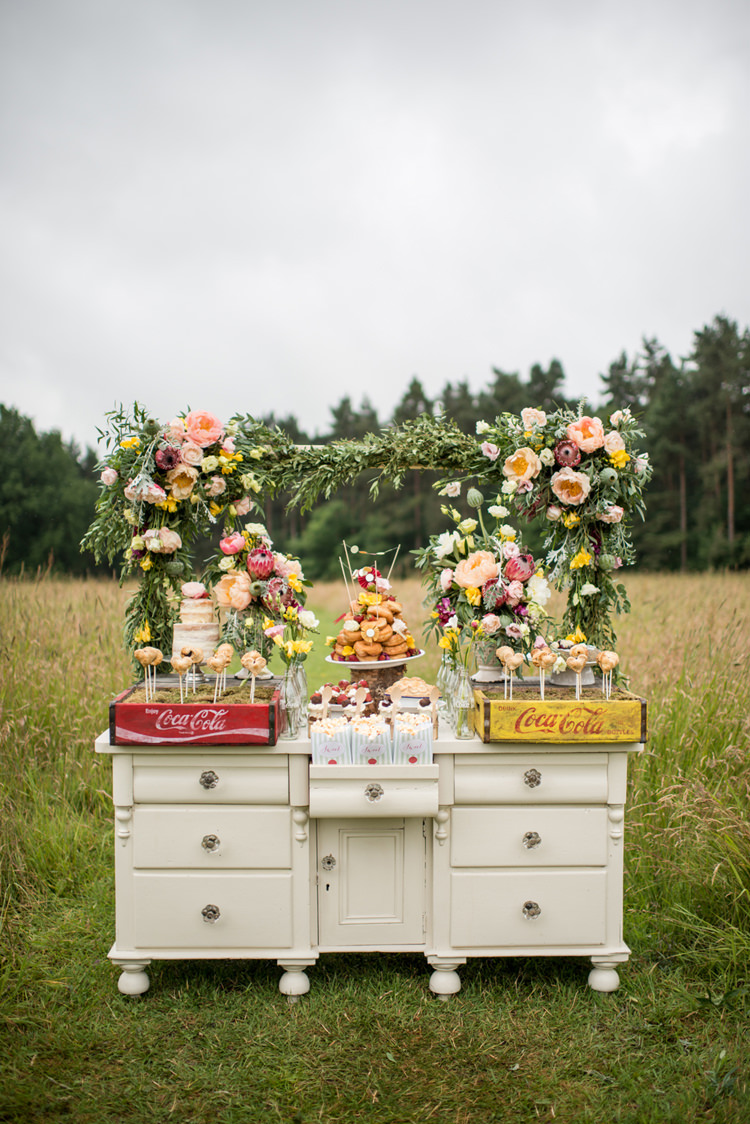 Dessert Table Cakes Flowers Furniture Draws Dresser Whimsical Soft Floral Meadow Wedding Ideas http://www.jbcreatives.co.uk/