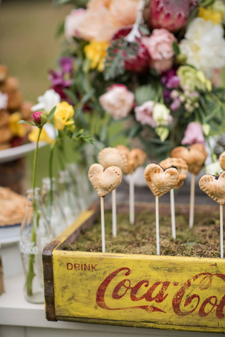 Heart Pie Pops Whimsical Soft Floral Meadow Wedding Ideas http://www.jbcreatives.co.uk/