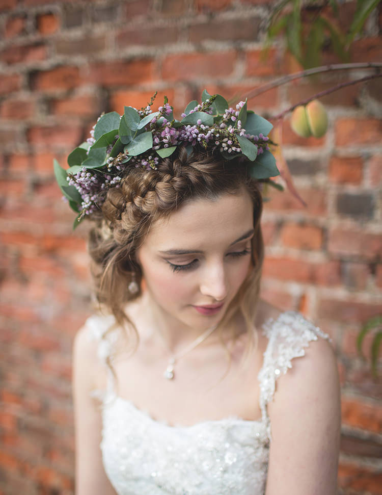 Plait Braid Hair Halo Bride Style Flower Crown Purple Lilac Feminine Bohemian Beautiful Bridal Ideas http://www.photographsbyeve.co.uk/
