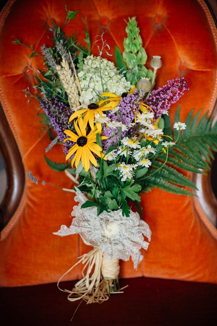 Wild Flowers Bouquet Bride Bridal Daisy Wheat Sweet Hand Crafted Crochet Barn Wedding http://www.mariannechua.com/