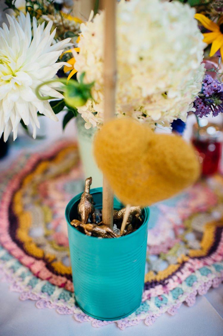 Gold Dinosaur Mint Teal Green Tin Flowers Centrepiece Sweet Hand Crafted Crochet Barn Wedding http://www.mariannechua.com/