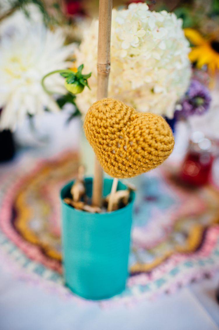 Mustard Crochet Heart Centrepiece Flowers Tin Sweet Hand Crafted Crochet Barn Wedding http://www.mariannechua.com/