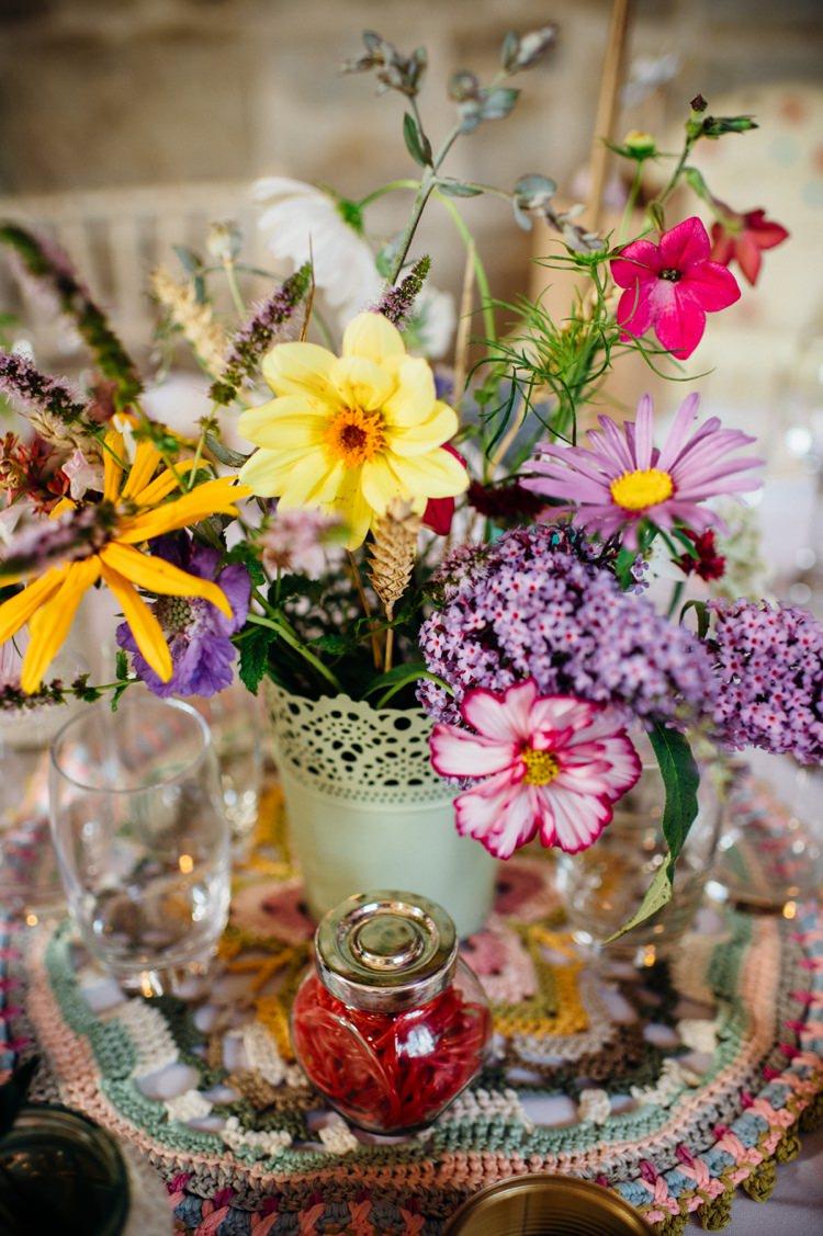 Yellow Pink Wild Flowers Centrepiece Sweet Hand Crafted Crochet Barn Wedding http://www.mariannechua.com/