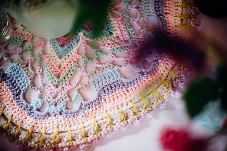 Sweet Hand Crafted Crochet Table Cloth Runner Mat Barn Wedding http://www.mariannechua.com/