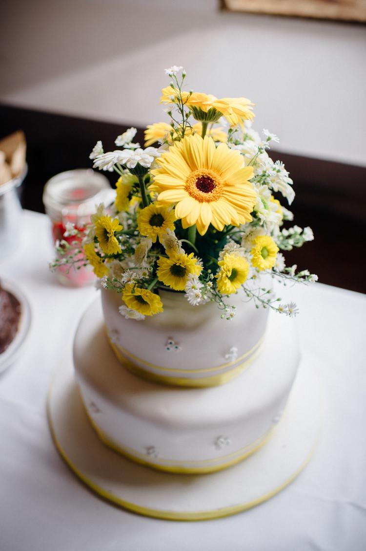 Yellow Flower Cake Topper Sweet Hand Crafted Crochet Barn Wedding http://www.mariannechua.com/