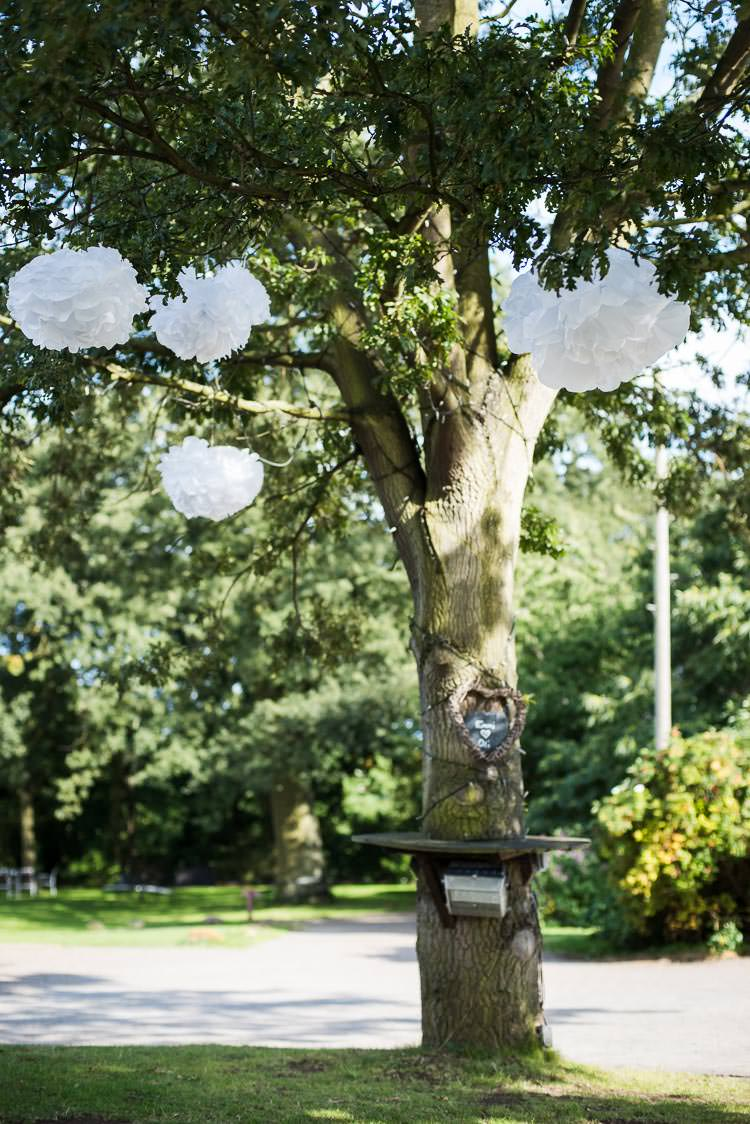 Tree Pom Poms Pretty White Summer Informal Wedding http://www.jessicagracephotography.com/