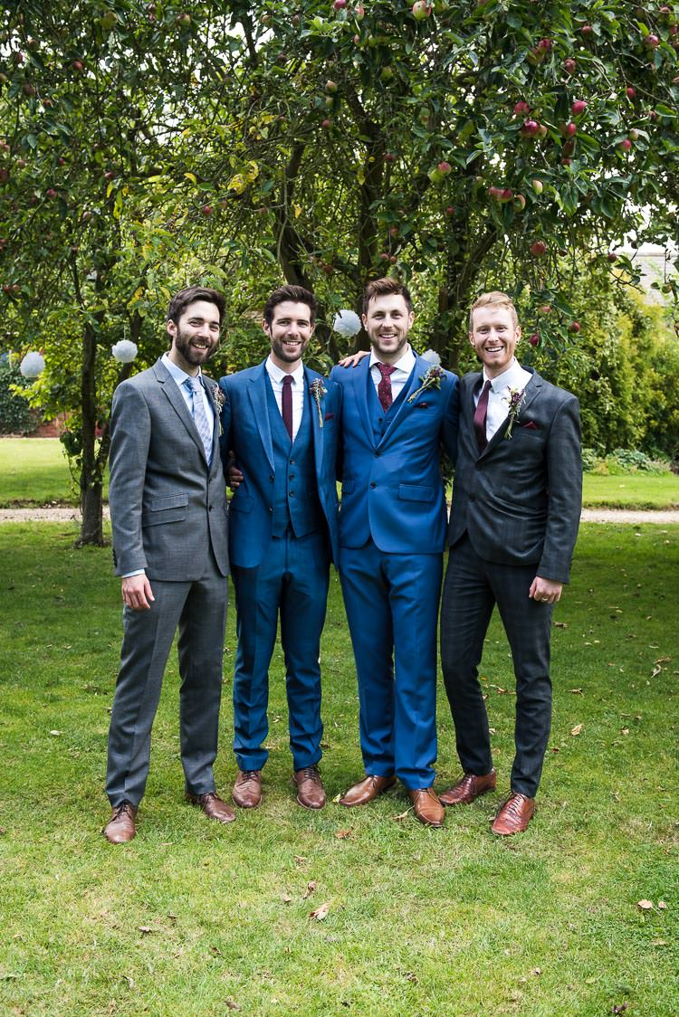 Blue Suit Claret Tie Groom Reiss Pretty White Summer Informal Wedding http://www.jessicagracephotography.com/