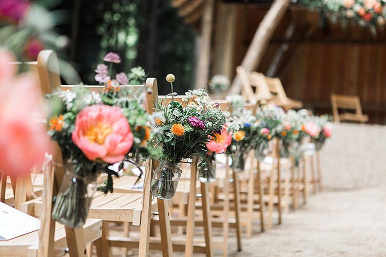 Jar Flowers Peach Peony Aisle Pew Ends Chairs Indie Hand Made Outdoor Woodland Wedding http://www.ilariapetrucci.co.uk/