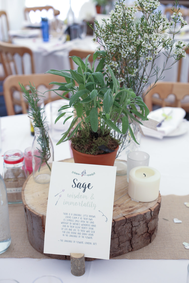 Herb Table Names Log Centrepieces Travel Garden Party Farm Marquee Wedding http://sharoncooper.co.uk/