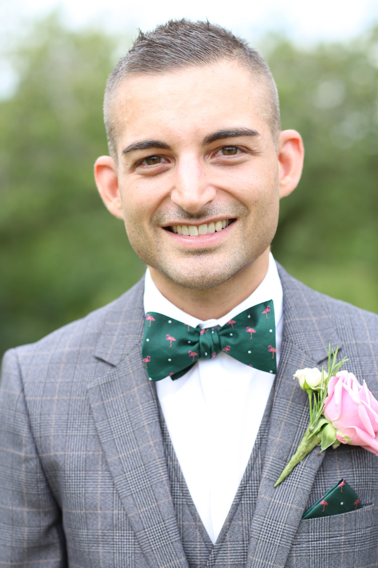 Bow Tie Flamingo Check Suit Groom Travel Garden Party Farm Marquee Wedding http://sharoncooper.co.uk/