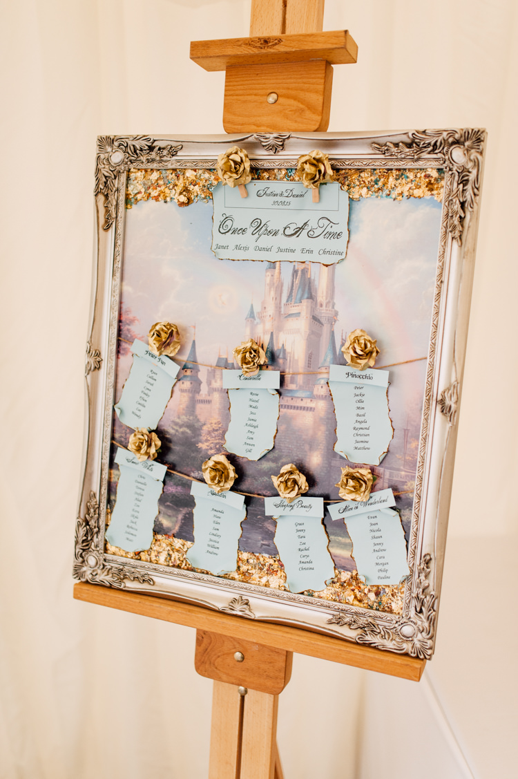Frame Disney Seating Table Plan Chart Fairytale Whimsical Burgundy Gold Wedding http://www.victoriatyrrellphotography.com/