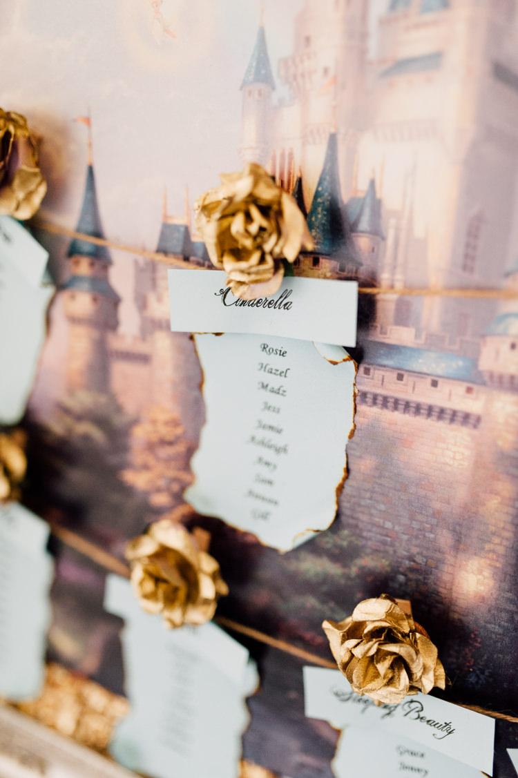Disney Table Seating Plan Chart Fairytale Whimsical Burgundy Gold Wedding http://www.victoriatyrrellphotography.com/
