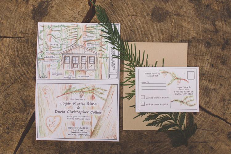 Stationery Invitations Treehouse Forest Wedding Washington http://stacypaulphotography.com/