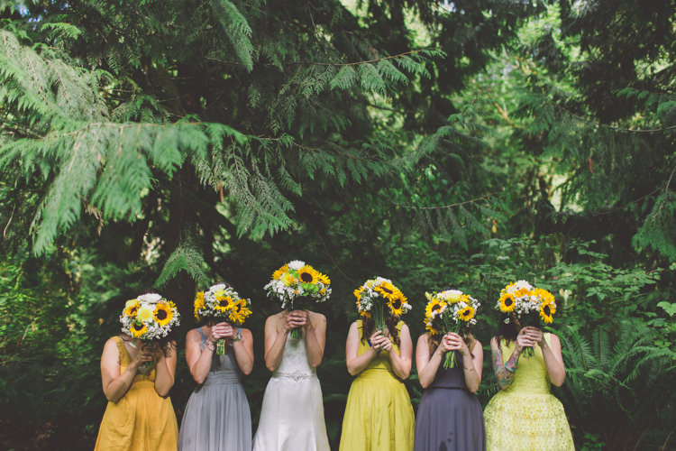 Yellow Grey Mismatched Bridesmaid Dresses Treehouse Forest Wedding Washington http://stacypaulphotography.com/