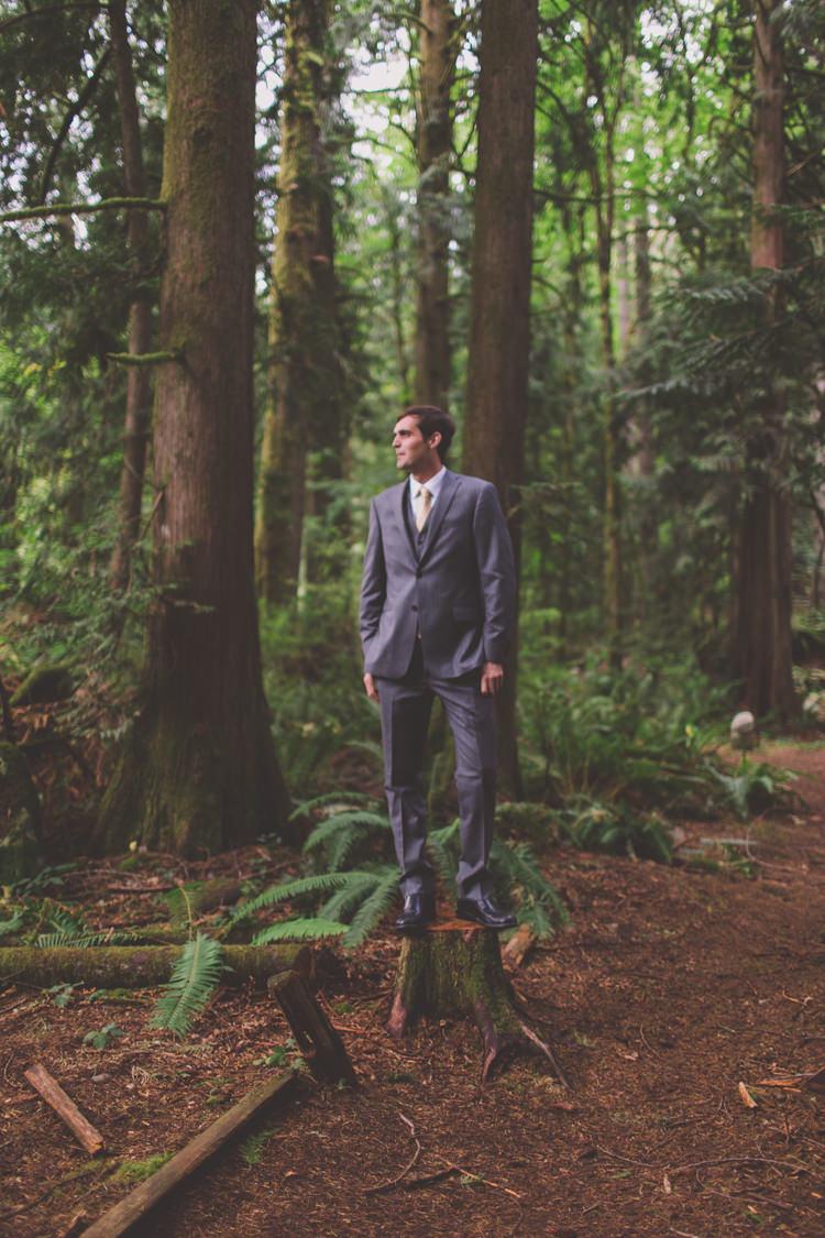Grey Suit Groom Treehouse Forest Wedding Washington http://stacypaulphotography.com/