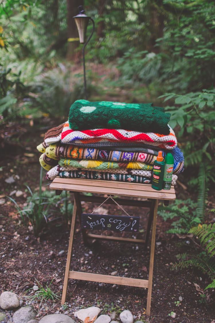 Crochet Blankets Treehouse Forest Wedding Washington http://stacypaulphotography.com/