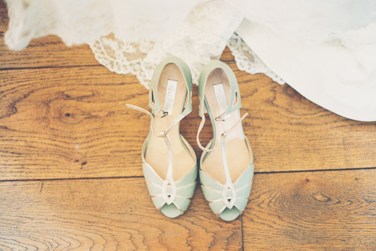 Rachel Simpson Mint Shoes Bride Bridal Quirky Relaxed Yellow Country Wedding http://www.mr-and-mrs-wedding-photography.co.uk/