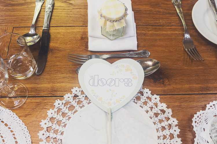 Doily Place Setting Quirky Relaxed Yellow Country Wedding http://www.mr-and-mrs-wedding-photography.co.uk/