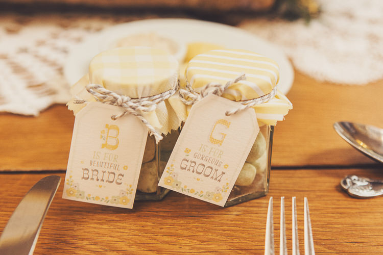 Sweet Jar Favours Luggage Tags Twine Quirky Relaxed Yellow Country Wedding http://www.mr-and-mrs-wedding-photography.co.uk/