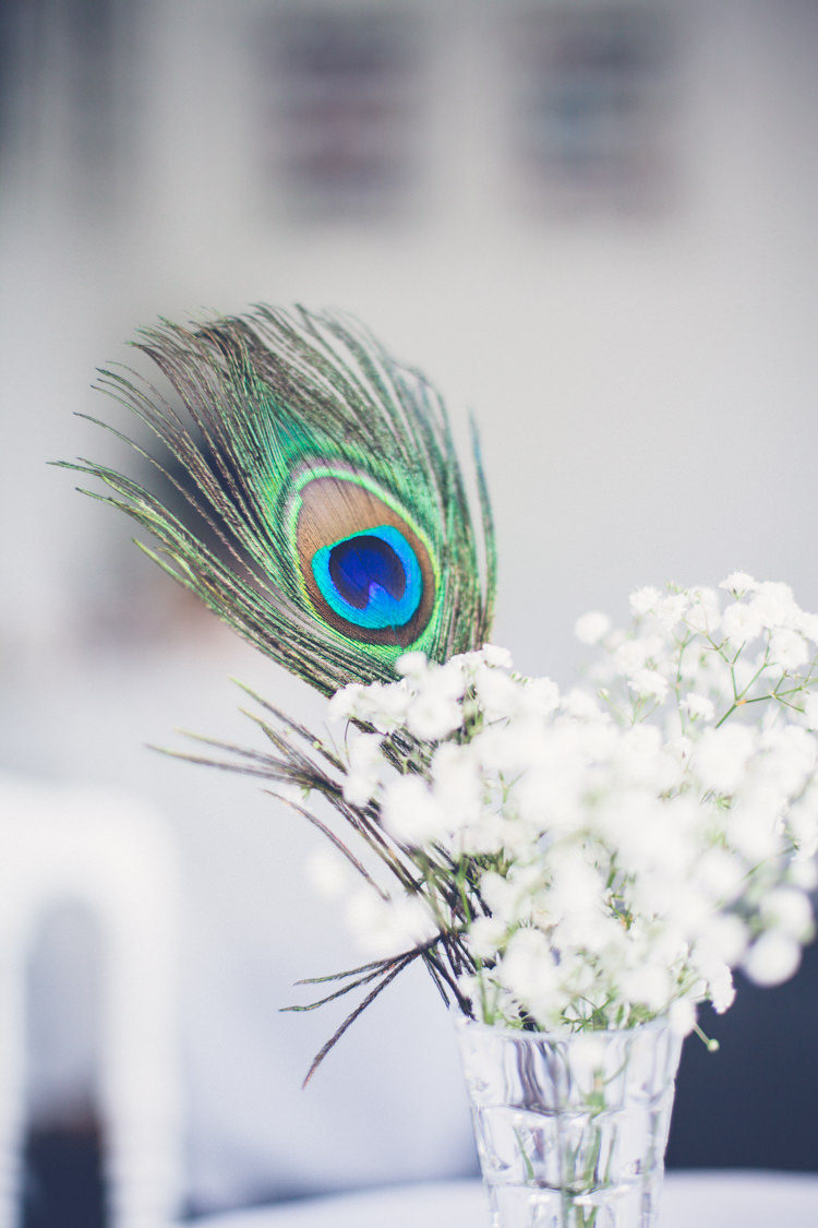 Peacock Feather Flowers Centrepiece Romantic Parisian Garden Wedding http://www.eva-photography.com/