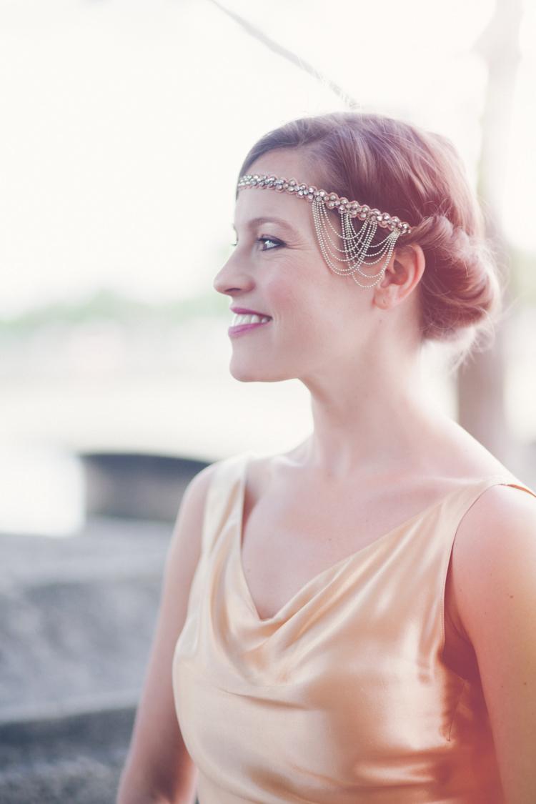 Vintage Roll Hair Bride Bridal Headdress Forehead 1930s Romantic Parisian Garden Wedding http://www.eva-photography.com/