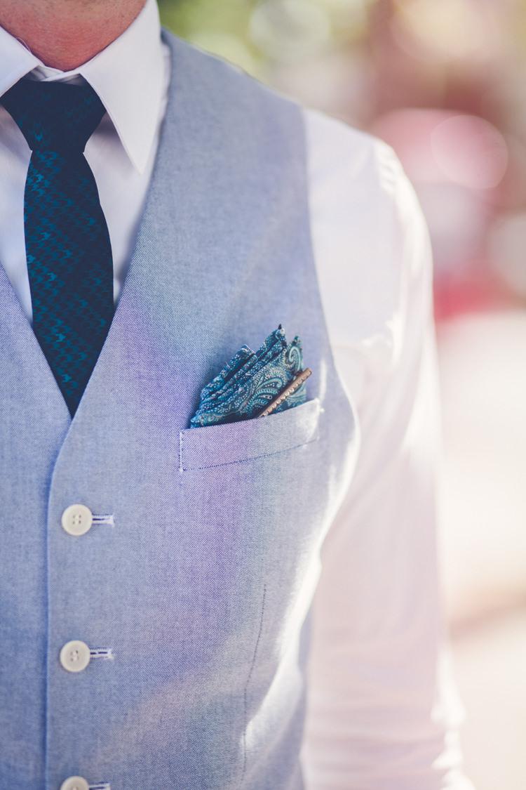 Blue Waistcoat Tie Pocket Square Groom Romantic Parisian Garden Wedding http://www.eva-photography.com/
