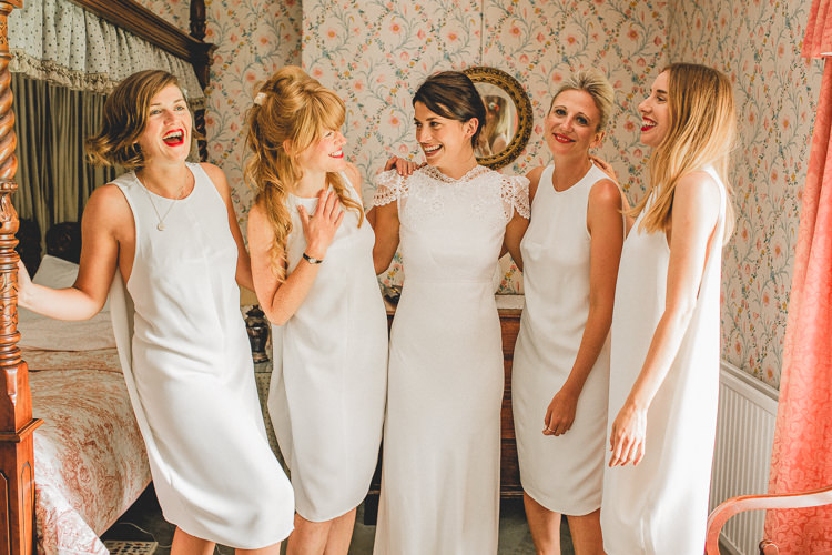 White Shift Dresses Bridesmaids Country Crafty Colourful Weekend Party Wedding http://www.noeldeasington.com/
