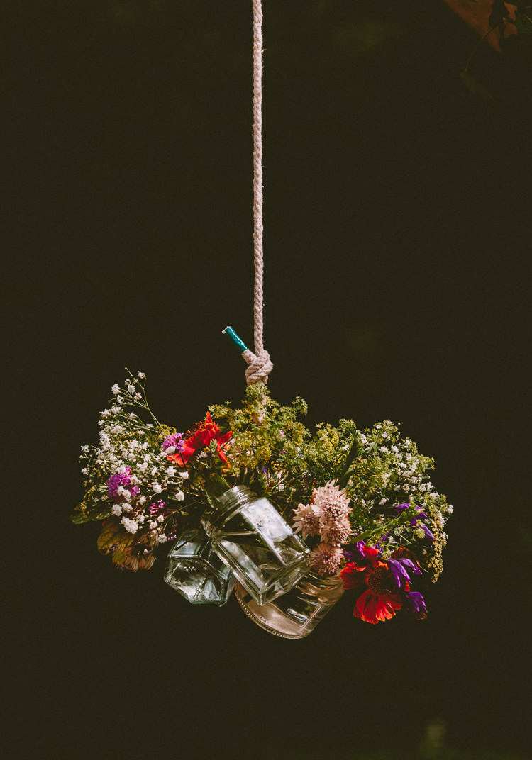 Hanging Jar Flowers Decor Country Crafty Colourful Weekend Party Wedding http://www.noeldeasington.com/