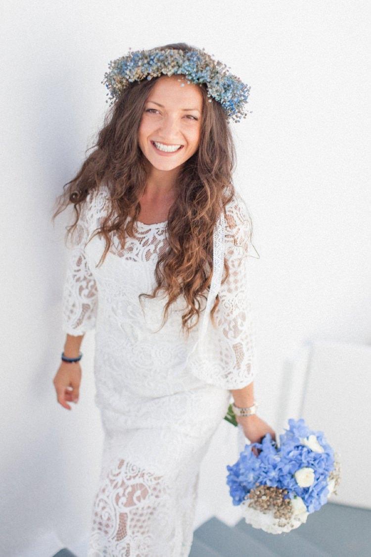 Flower Crown Bride Bridal Bohemian Blue White Santorini Engagement http://www.robertafacchini.com/