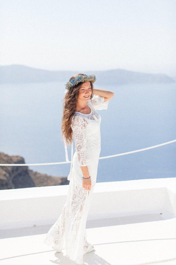 Crochet Dress Bride Bridal Gown Wedding Bohemian Blue White Santorini Engagement http://www.robertafacchini.com/