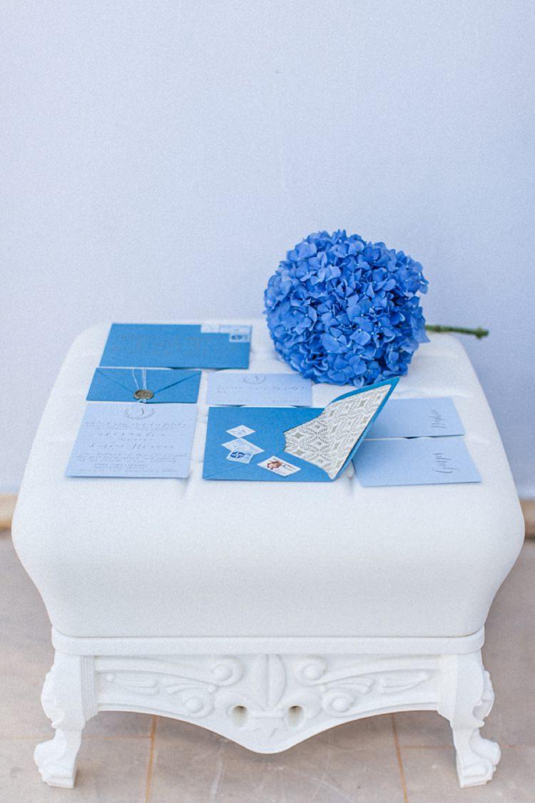 Stationery Invitations Paper Goods Wedding Bohemian Blue White Santorini Engagement http://www.robertafacchini.com/