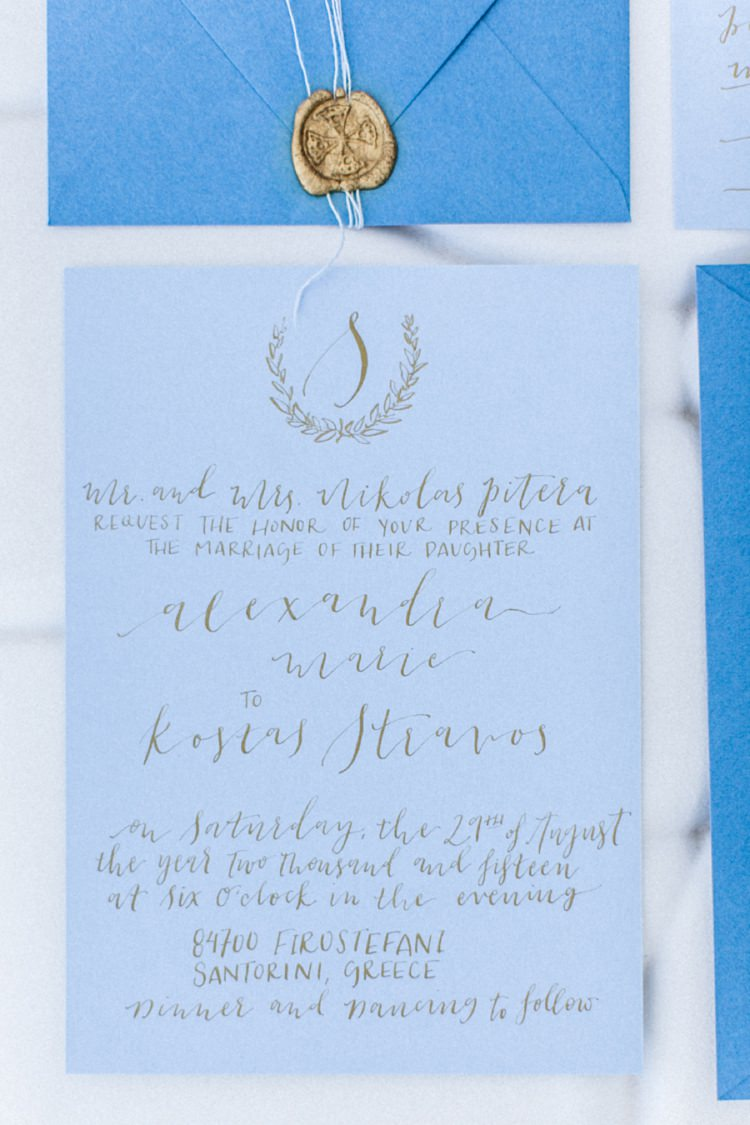 Stationery Invitations Paper Goods Wedding Calligraphy Bohemian Blue White Santorini Engagement http://www.robertafacchini.com/