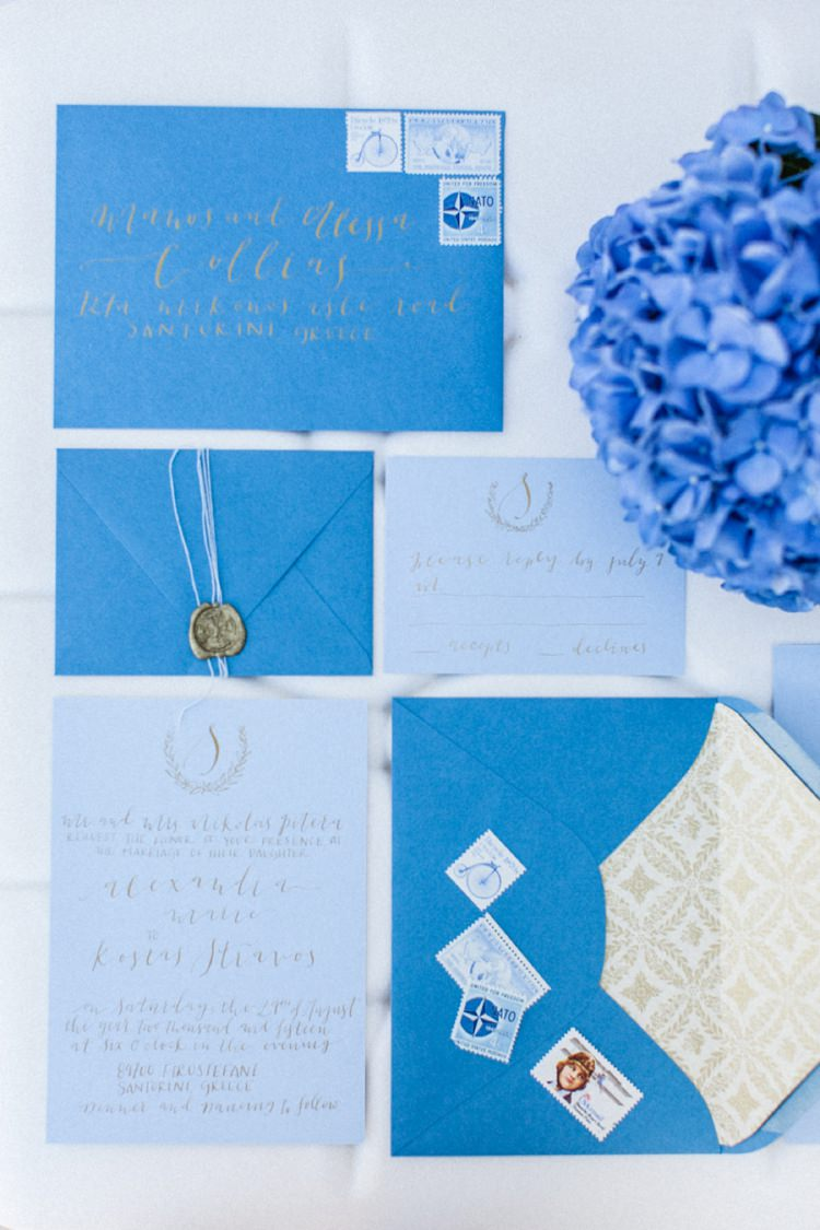 Stationery Invitations Paper Goods Wedding Calligraphy Stamps Bohemian Blue White Santorini Engagement http://www.robertafacchini.com/