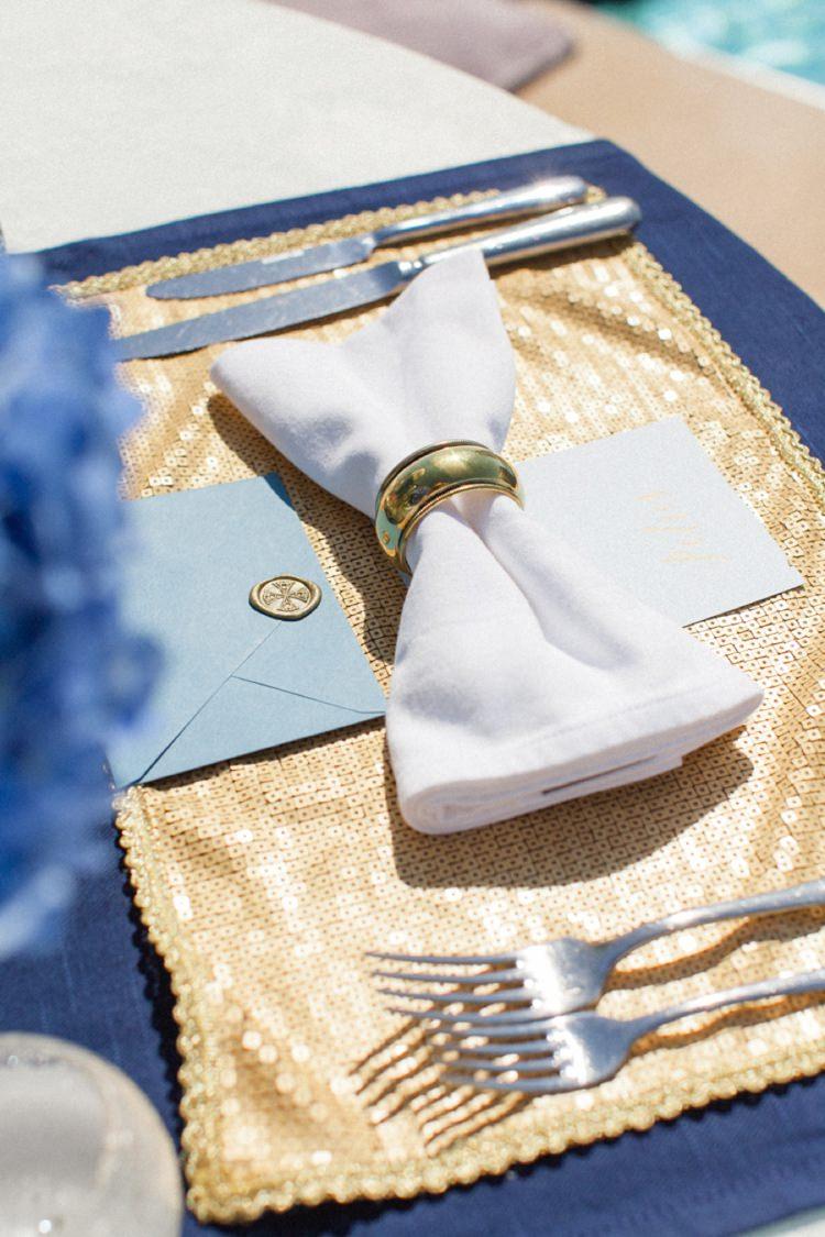 Bow Tie Napkin Sequin Table Mat Bohemian Blue White Santorini Engagement http://www.robertafacchini.com/