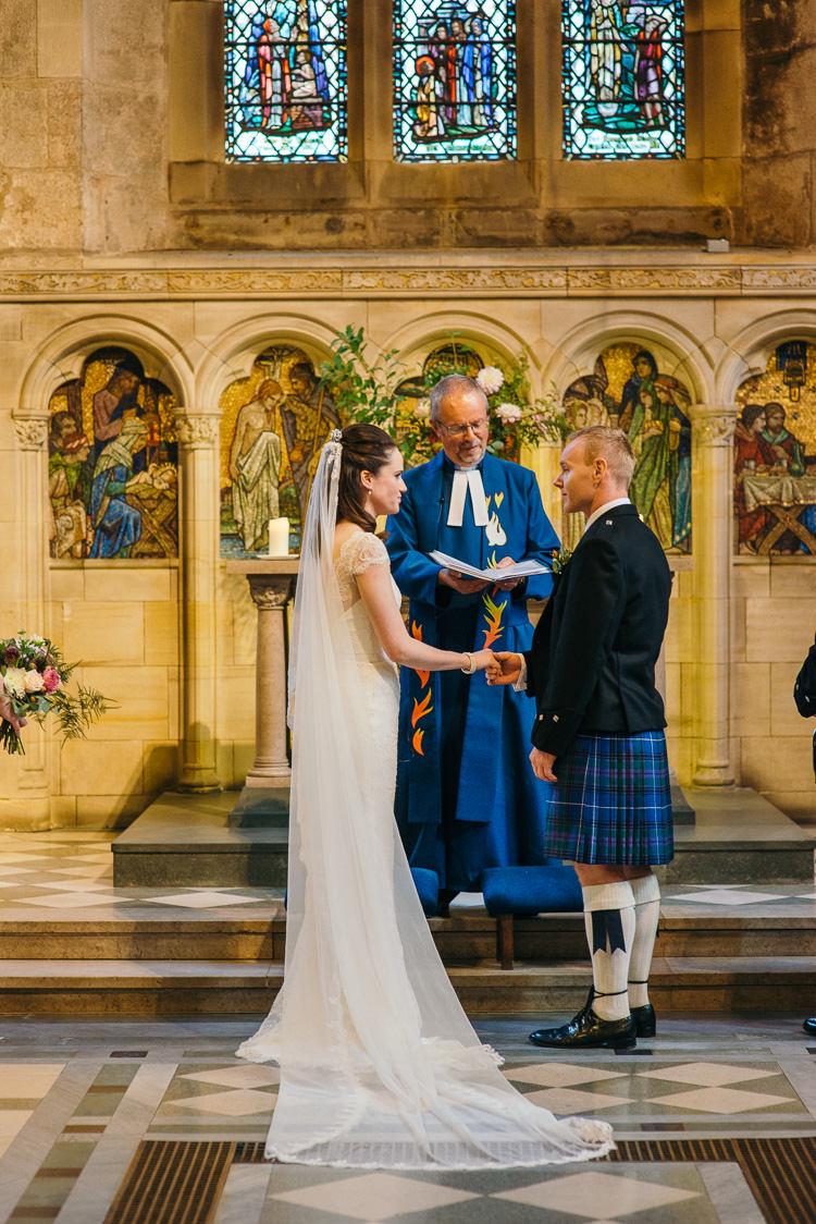 St Andrews St Salvators Chapel Modern Natural Pink Metallic Wedding http://photosbyzoe.co.uk/