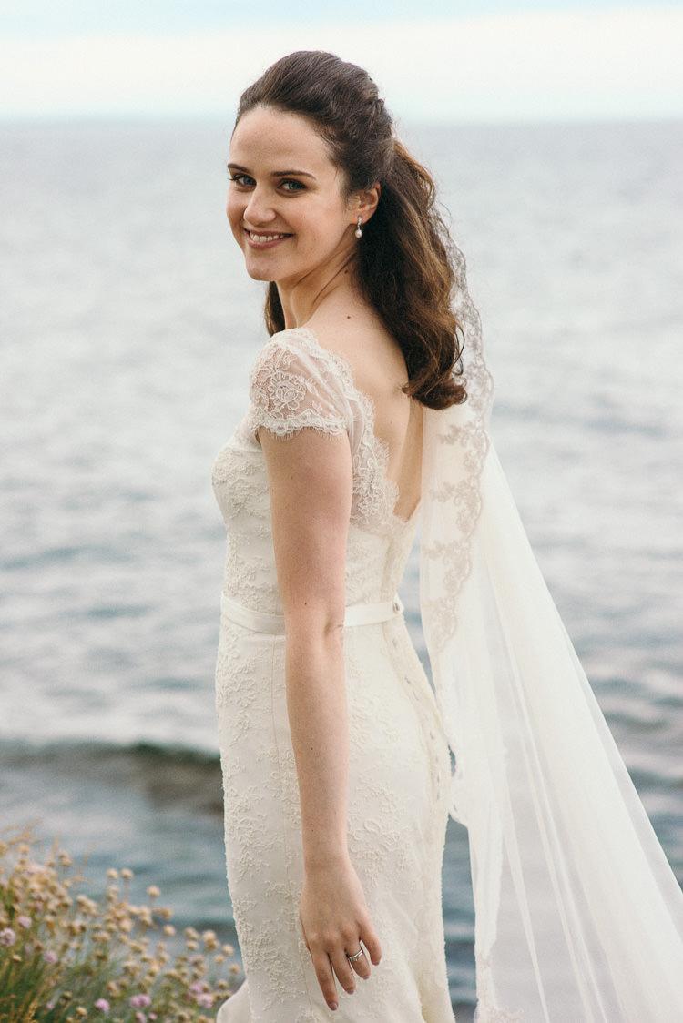 Amaline Vitalie Lace Dress Gown Bride Bridal Veil Modern Natural Pink Metallic Wedding http://photosbyzoe.co.uk/
