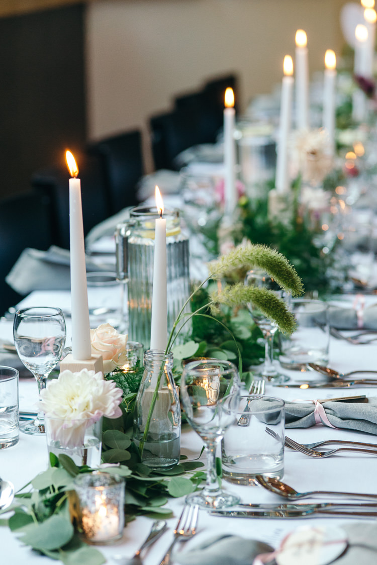 Candles Greenery Tables Modern Natural Pink Metallic Wedding http://photosbyzoe.co.uk/