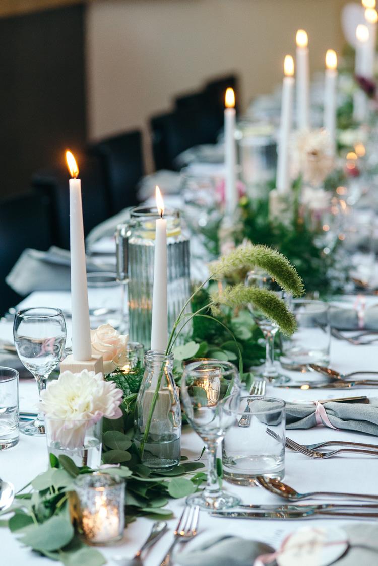Candles Greenery Tables Modern Natural Pink Metallic Wedding http://photosbyzoe.co.uk/